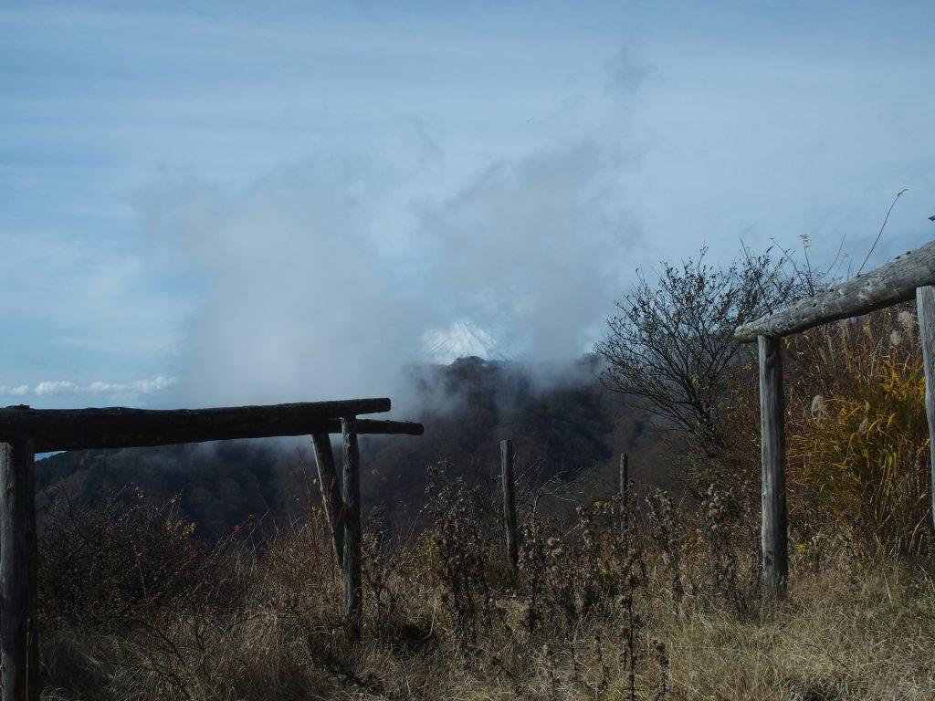 雲がかかりはじめた富士山と大倉尾根