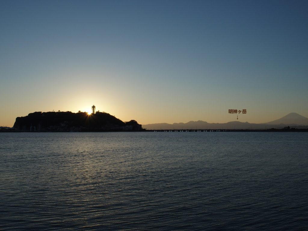 腰越漁港から江の島と明神ヶ岳