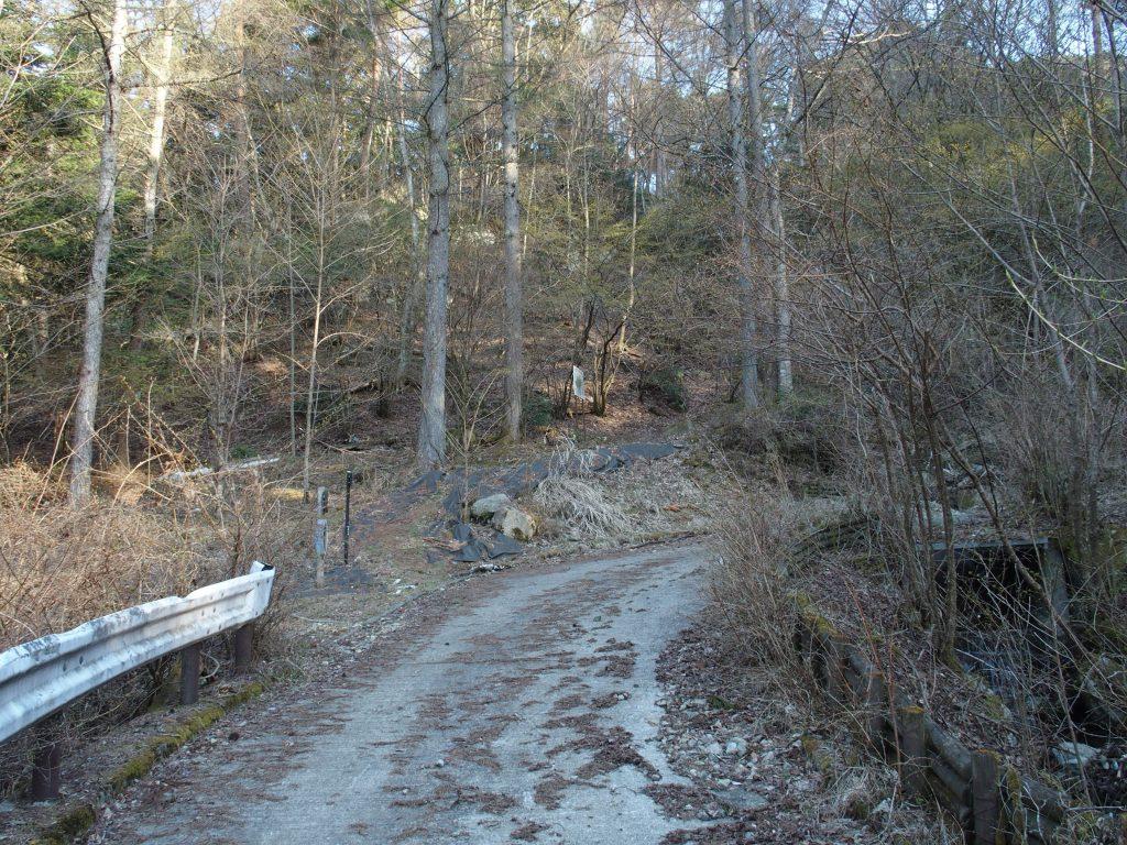 登山道分岐のヘアピンカーブ