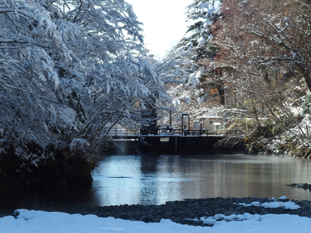 雪の熊木ダム