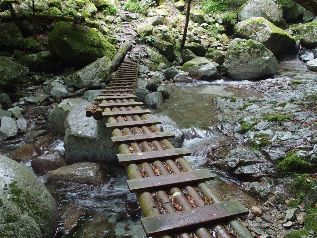 途中で連結された木橋