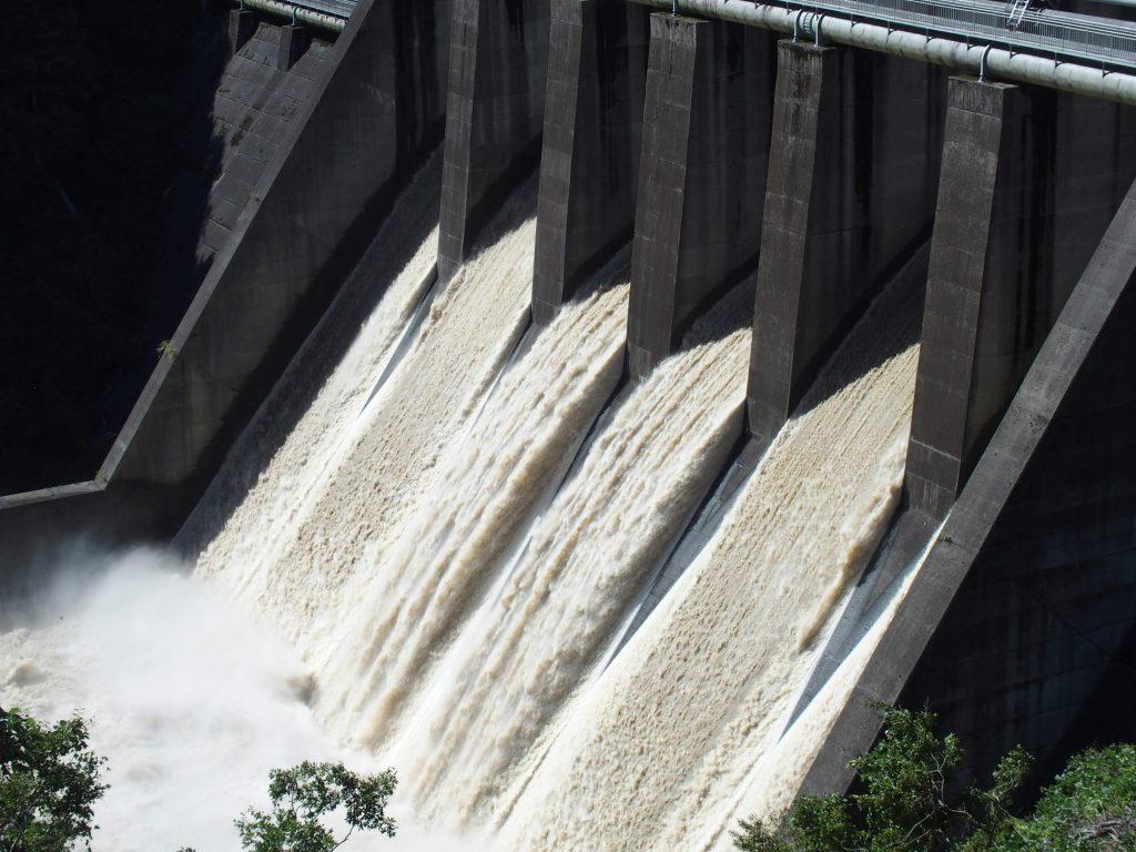 台風の影響で水は濁っている