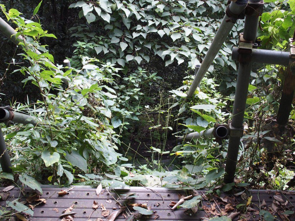 建設現場用の階段が設置されている