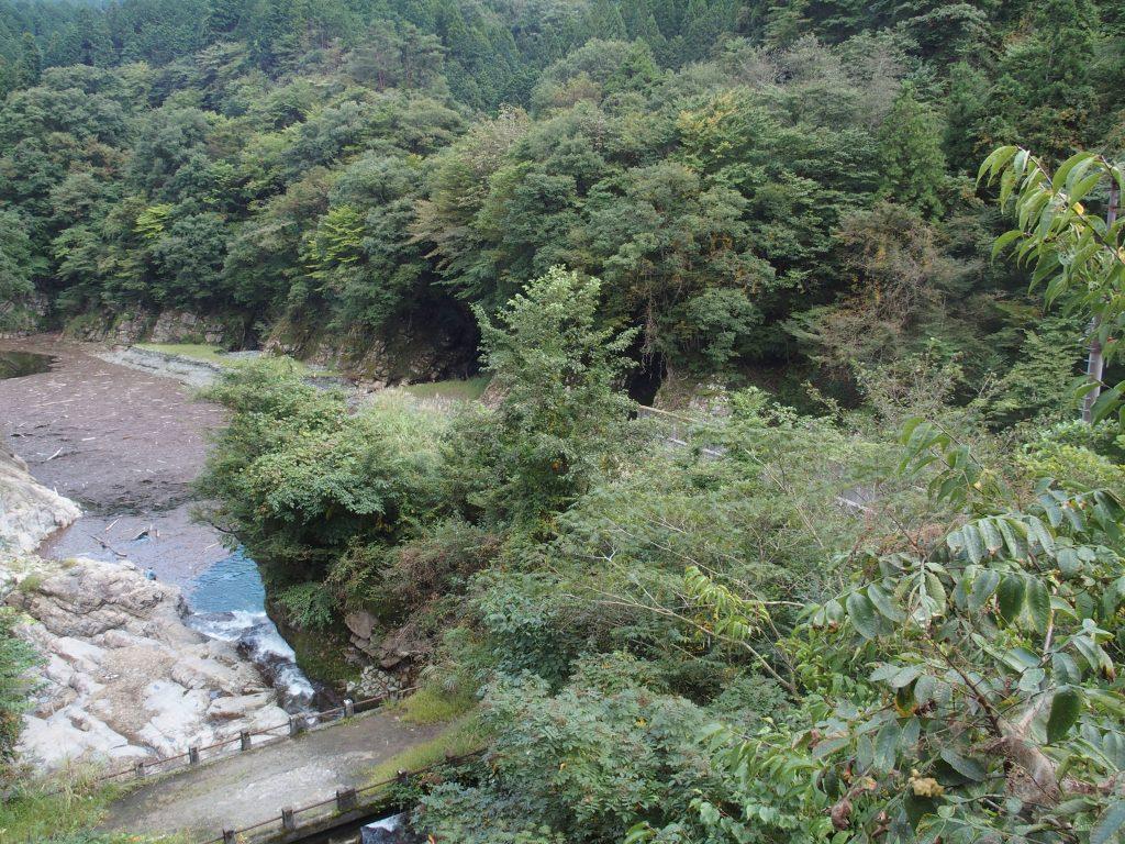 放水口が流れ込む早戸川