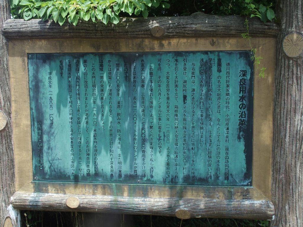深良用水の沿革を説明する看板