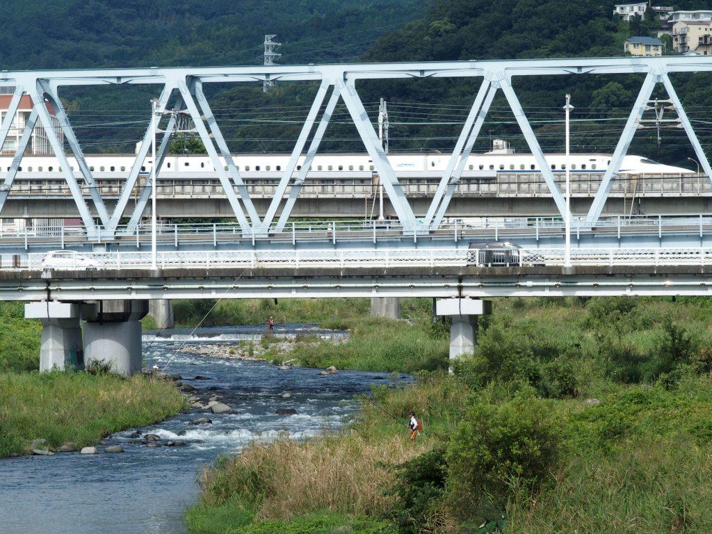 河口からすぐ近くを新幹線が通過