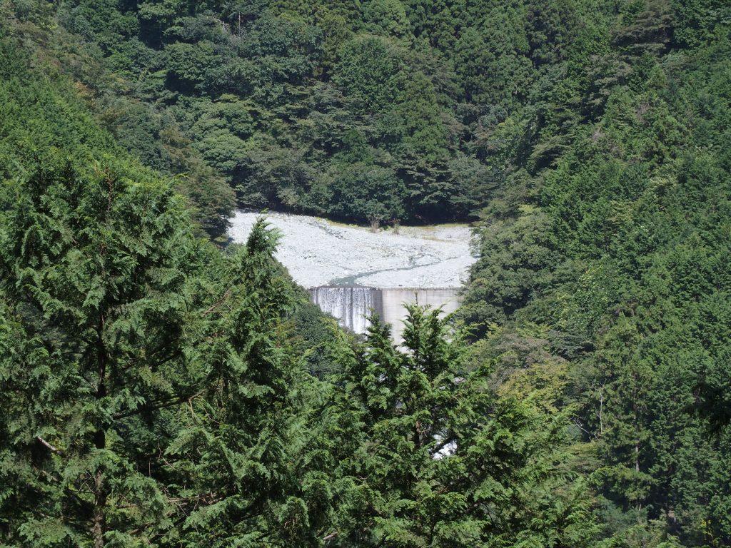 山の麓に中津川寄沢の堰堤が見える