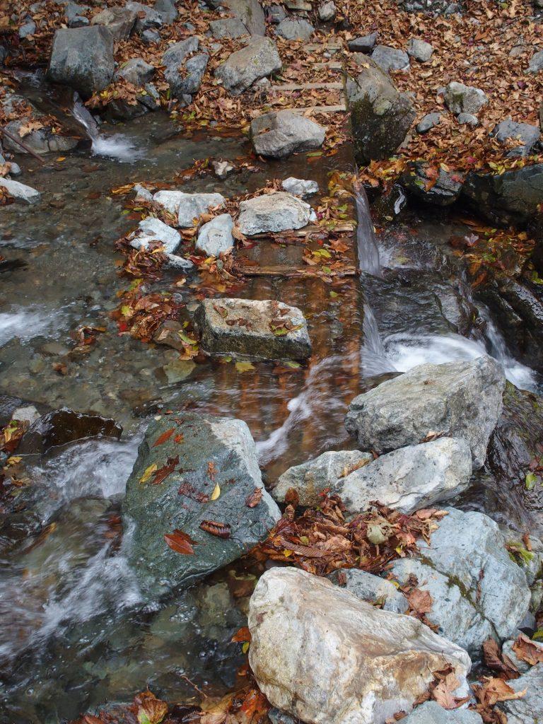 川の流れに沈んだ木橋